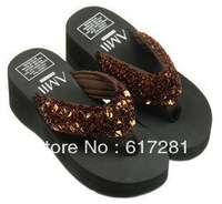 Summer clamping foot dragging thick bottom beach flip-flops loose women sandals and slippers sequined herringbone slippers