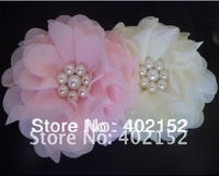 200$ Free ems (120pcs/lot) 3.5inch fashion chiffon hair flower with pearl hair accessories girls accessories for baby headband