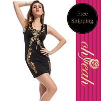 Designer Black Foil Bodycon V neck Vintage Sexy Pirnt Dresses New Fashion 2013  R7606