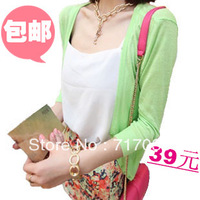 Free shipping 2013 summer new Korean version was thin cardigan female wild multicolor thin solid short-sleeved knit cardigan