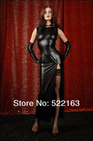 Japanned PU temptation ds costume sexy leather full dress queen and gloves