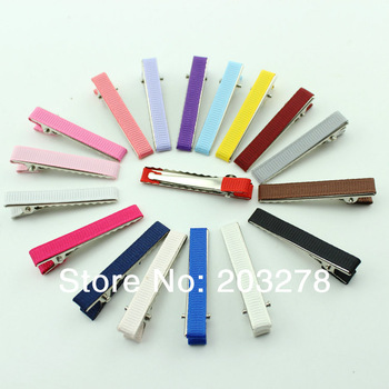 "Wholesale -1.8"" DIY hair Accessory clips Baby girl Ribbon Hair Bows Clip Ribbon Lined Alligator Hair Clips 16 colors"