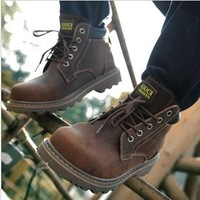 Free Shipping 100% genuine leather Casual male cotton-padded shoes the trend of men's shoes Martin shoes winter snow boots