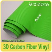 High Quality Air Bubble Free Green 3D Carbon Fiber Wrap Vinyl Sticker Film FedEx Free Shipping Size:1.52*30m