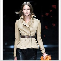 2013 AUTUMN&WINTER NEW RUNWAY SLIM FIT COAT WOMEN DOUBLE BREASTED TRENCH COAT WITH BELT #SX8620
