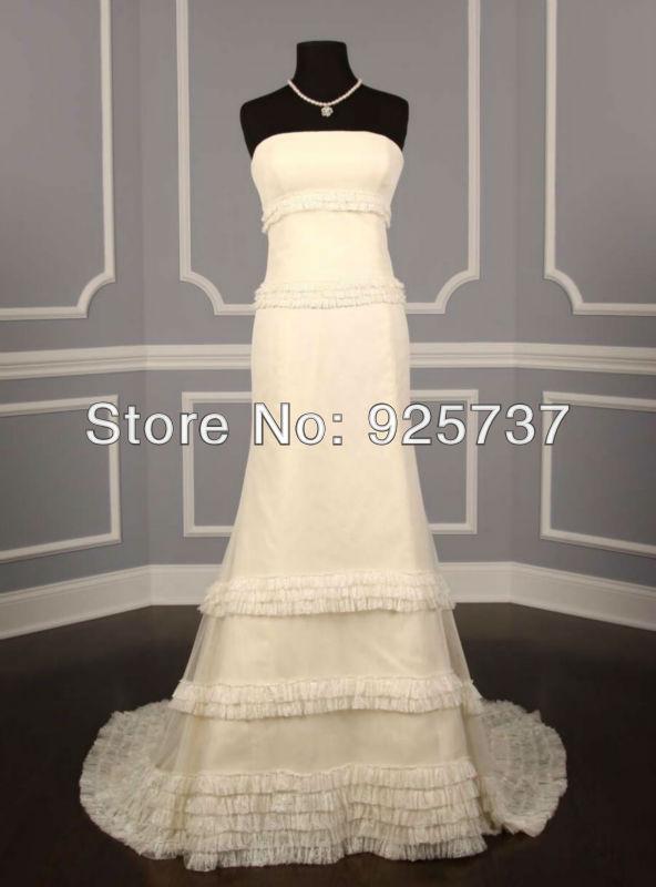 Sheath lace wedding dress 2013 chapel train tulle ruched layered designer wedding dress sample photo real dress(China (Mainland))