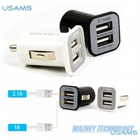 500pcs/lot *USAMS 3.1A Mini Micro auto dual double usb car charger for iPhone / iPod iPad .for Samsung s3/s4
