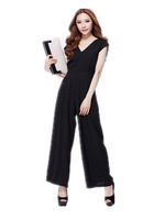Free Shipping Women 2014 Brand  Summer V-neck racerback women's casual jumpsuit, fashion high waist  Wide leg Rompers