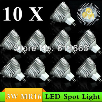 10PCS 3W MR16 DC12V white/warm white LED Downlight LED Bulb Light Spot Light Candle Light Retail and Wholesale  Free Shipping