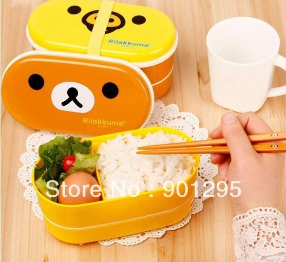 5sets wholesales !!! 2 colors Yellow/brown Relax Bear Lovely Beautiful lunch box Rilakkuma Bento Box with Chopsticks &belt(China (Mainland))
