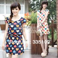 Fashion Women Girls Colorful Loving Heart Printing Chiffon Mini Dress Short Sleeve Summer Casual Elastic Waist Round Neck 16512