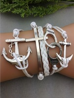 3pcs Anchor-Cross - Love -Handcuff -Anchor Bracelet-Silver Charm Bracelet Cute Personalized Jewelry  1065 MIn order 10$