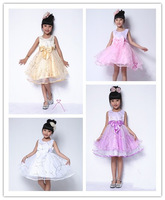 Retail 1Pcs 2013 children dress girls Princess dress chiffon Big bowknot dresse for summer
