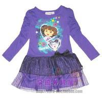 Free shipping Dora 2013 children's clothing dora long-sleeve dress female child layered dress baby one-piece dress purple