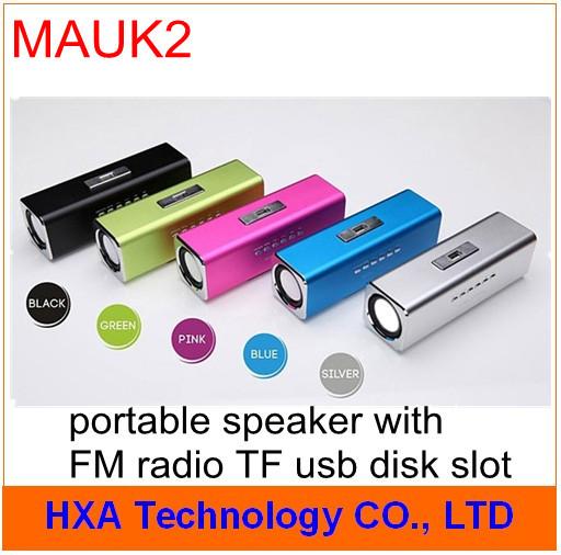 Fashion music angle speaker with FM radio TF card usb disk slot , mini portable laptop computer mp3 sound box MAUK2(China (Mainland))