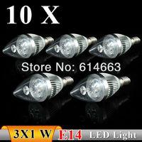 10PCS  E14 3w white / warm white Sharp bubble LED Bulb Light Candle Light Energy saving AC85-265V   Free Shipping