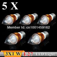 5PCS  E27 3w  AC85-265V white / warm white Sharp bubble  LED Bulb Light Candle Light strength  power  Free Shipping