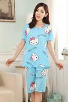 new 2014  women   mickey hello kitty  print  milk silk  pajama sets  / sleep & lounge / sleepwear for women