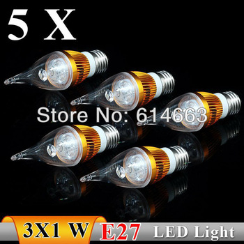 5PCS  E27 3w white / warm white  Pull tail LED Bulb Light Candle Light Energy saving AC85-265V   Free Shipping