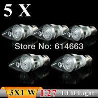 5PCS  E27 3w  AC85-265V Strong power  white / warm white Sharp bubble  LED Bulb Light Candle Light Energy saving   Free Shipping