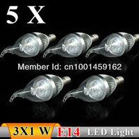 5PCS  E14 3w AC85-265V white / warm white Pull tail  LED Bulb Light Candle Light Energy saving  Free Shipping