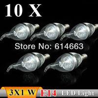 10PCS  E14 3w AC85-265V Strong power white / warm white Pull tail  LED Bulb Light Candle Light Free Shipping