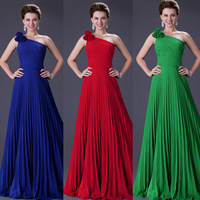 Free Shipping 1pc/lot Grace Karin  Stock One Shoulder Pleated Party Gown Long Formal Evening Dress CL3467