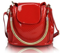 2014 Fashion vintage women patent leather bucket handbag messenger bag tote shoulder bag LF06705a