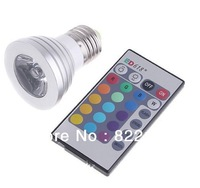 NEW 16 Color 3W Remote Control E27 RGB Led Light Bulb AC 90~240V