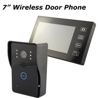 "Free Shipping Home Security 2.4G Wireless Video Door Phone Intercom Doorbell Camera with 7""LCD Monitor Wholesale & Retails"
