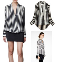 Free Shipping Unique Long Sleeve Chiffon No button stripes lapel womens Tshirt Tops Blouse S/M/L Size For Choice