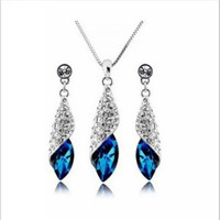 Wholesale Water Drop Austrian Crystal 2013 New Fashion Pendant Necklaces & Earrings for Women Ladies Crystal Jewelry Sets Blue