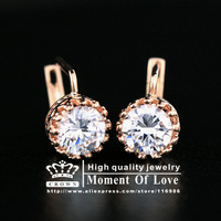 Free Shipping 1 Pair(CRE-079 AA 590)Top Quality Rose Gold Plated 1.25 carat Swiss Cubic Zircon Stone Pierced Clip,Earrings