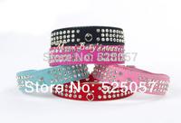Free shopping  Suede Pet Dog Collar Bling 3 Rows Diamante  Pet Puppy Collars Croc Dog Cat Collars Pet Collar PU leather new