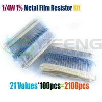 Total 2100pcs 1/4W Metal Film Resistor Assorted Kit 21 Values (1 Ohm ~1M Ohm) ,100pcs Each value