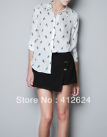 Brand New Top Women chiffon t shirt Bright parrot pattern collar long sleeved shirt anchors Free ship