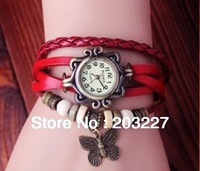 Free shipping 2013 ladies women vintage bracelet watch butterfly pendant Genuine cow leather quartz wristwatches 5 colours