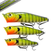 Fresh water lure popper-5pcs each size-15/pcs,CF lure-3580# (130mm 52g,110mm 35g,90mm 20g)fishing lure