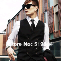 Vest male spring and summer vest british style tidal current male suit vest male slim fashion double breasted vest