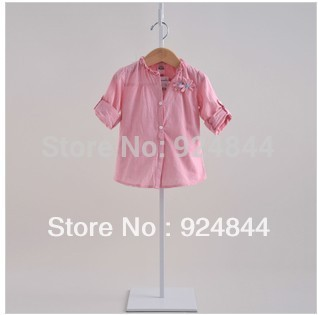 2014 girls cotton stripe casual long-sleeved shirt baby dual-sleeve shirt