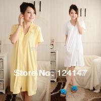 AQ Fashion women's 100% cotton zipper sweater bathrobes robe lounge sleepwear 100% short-sleeve cotton nightgown robe