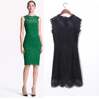 Free shipping 2014 Summer Women Lace Bodycon Dress New Round Neck Sleeveless Back Bow Women's Sexy Evening Dresses