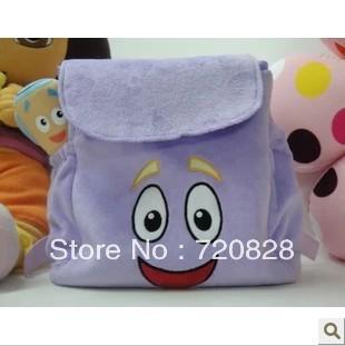 Varejo frete grátis Dora The Explorer Sr. Rosto Plush Backpack Com Mapa Escola Bag Roxo Criança Bebê encantador saco / mochila(China (Mainland))