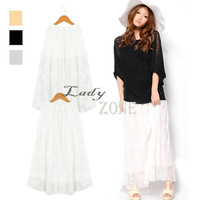 3 pcs/lot  New  Fashion 2 Types 3 Colors Women's Lace Long Pleated Skirt Casual Wear  Wholesale 16574