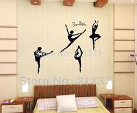 [DongFan] Black girl danceing ballet wall sticker Home decor decal living room decor murals free shipping