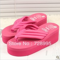 Free shipping, Clamping jaw 2013 summer fashion flip flops shoes platform shoes wedges platform women's sandals slippers