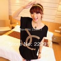 New 2014 Plus size Women T-shirt Female Personality of Paragraph Loose Batwing Shirt O-neck Fashion Short-sleeve T-shirt