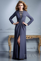 Latest New Fashion Long Sleeve Front Cutting Out Tops For Mother 2013 Mother Of The Bride Dress
