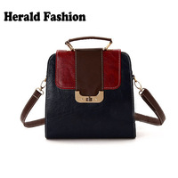 free shipping 2013 brand vintage color block leather messenger backpack shoulder multifunctional bag women's handbag totes