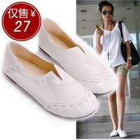 2014 flat heel doll nude color shoes low-top casual shoes flat plus size women 's single shoes